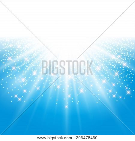 sunlight effect sparkle on blue background with glitter copy space. Abstract vector illustration