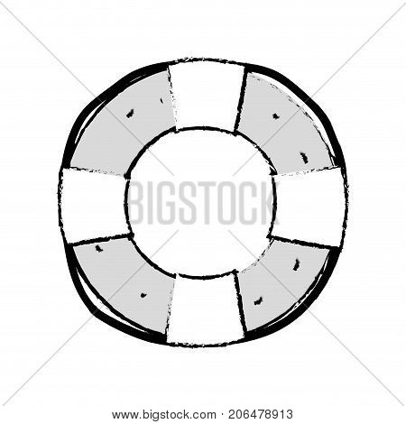 figure life buoy object to security emergency vector illustration
