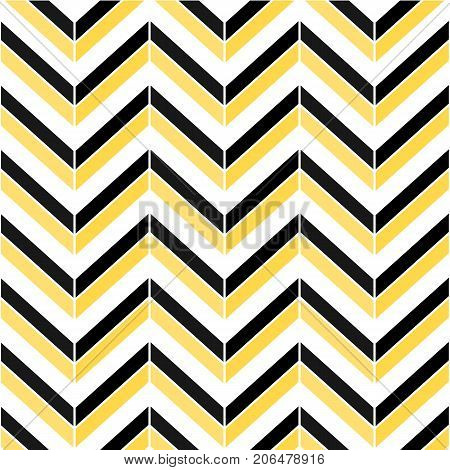 Herringbone colorful seamless pattern. Vector zigzag black white and yellow texture.