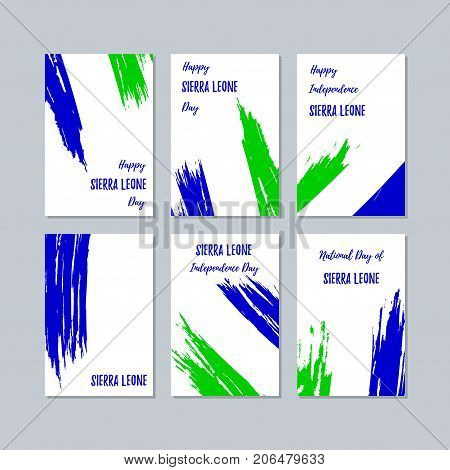 Sierra Leone Patriotic Cards For National Day. Expressive Brush Stroke In National Flag Colors On Wh
