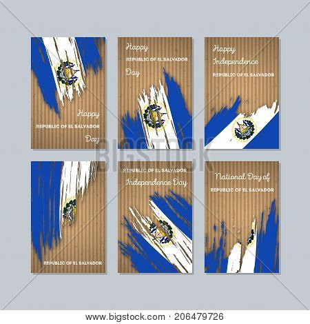 Republic Of El Salvador Patriotic Cards For National Day. Expressive Brush Stroke In National Flag C