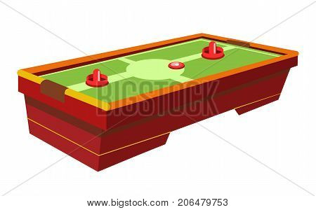 Table hockey with round paddle and thin washer on green field isolated cartoon flat vector illustration on white background. Simple interesting game for two players that can be played in premises.