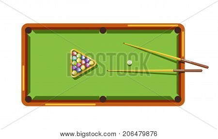 Billiard table with green field, wooden cues and colorful balls isolated cartoon flat vector illustration on white background. Exciting game for leisure time and professional sport tournaments.