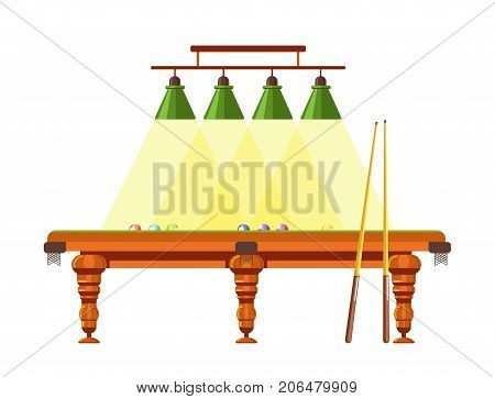 Wooden table for billiard with long cues, colorful balls and bright lamps above isolated vector illustration on white background. Game for amateurs to spend leisure time and professionals to compete.