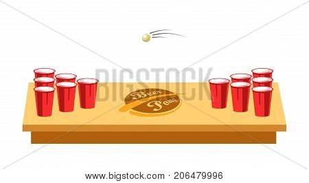 Beer pong on wooden table with red plastic cups and small ball isolated cartoon flat vector illustration on white background. Alcohol game with usage of accuracy for party to have fun and get drunk.