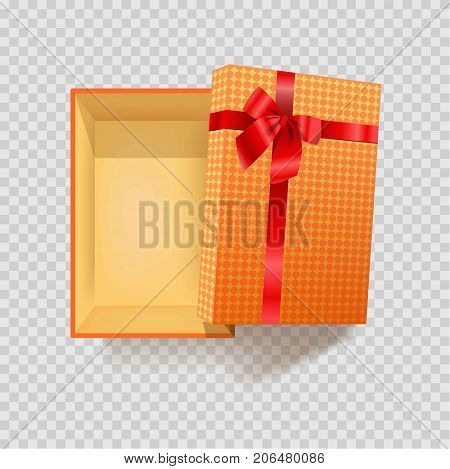 Bright gift box wrapped in checkered paper with red silk bow made of ribbon isolated cartoon flat vector illustration on transparent background. Open container for present of rectangular shape.
