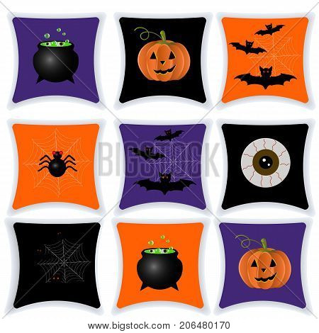 Happy Halloween. Pillow with Halloween drawings. Set of cushions for the interior. Cartoon. Vector.