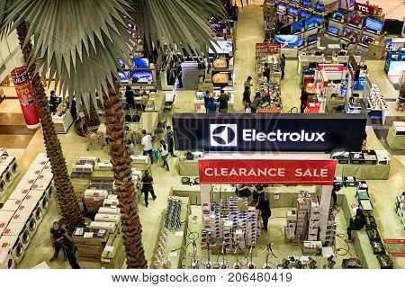 BANGKOK THAILAND - August 27:Electrolux holds a clearance sale in The Mall Bangkhae shopping mall on August 272017 in Bangkok.