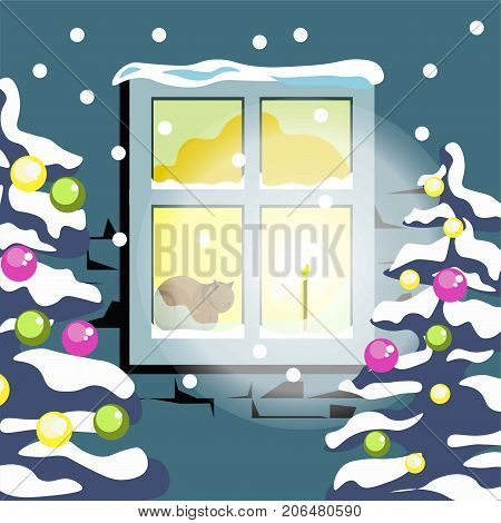 Winter season or Christmas time concept. House window with light in winter snow and Christmas tree. Vector flat four seasons landscape or nature scenery background