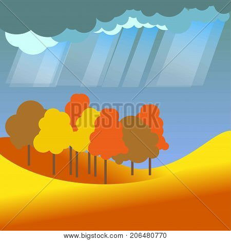 Autumn or fall season landscape of forest trees and rainy weather with dark clouds in sky. Vector flat four seasons concept scenery background