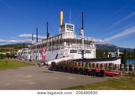 Whitehorse, Canada, 2017.08.05: The riverboat «Klondike» sits on land in Whitehorse in Canada.