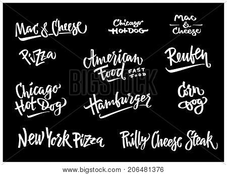 Hand drawn illustration popular American Food varieties Corn Dog, Chicago Hot Dog, Hamburger, Philadelphia Cheese Steak, Reuben Sandwich, Mac and Cheese, New York Pizza.