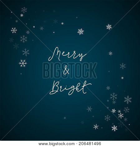 Merry & Bright Greeting Card. Sparse Snowfall Background. Sparse Snowfall On Blue Background.good-lo