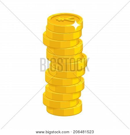 Heap gold coins. Thesaurus, savings opportunity, income and payments. Business finance and economy concept. Cartoon vector illustration isolated on white background