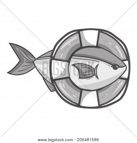 grayscale fish with life buoy object design vector illustration