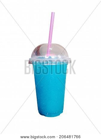 Colorful summer slushies with straw on white background. drink