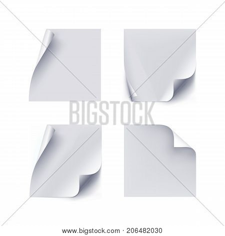 Set of white paper stickers on white background. Several white stickers in a realistic style with bent edges for designers and illustrators. Set of labels as a vector illustration
