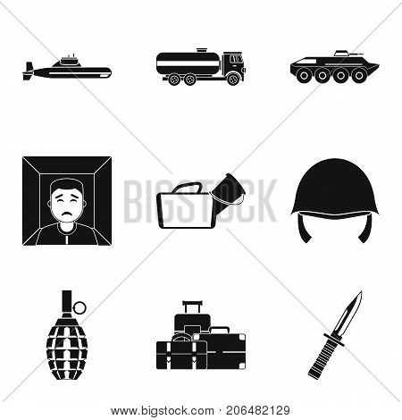 Warfare icons set. Simple set of 9 warfare vector icons for web isolated on white background