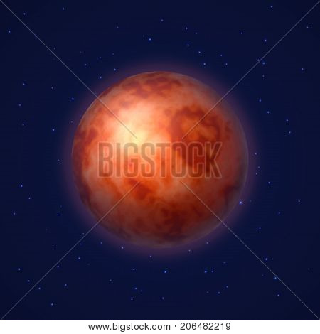 Planet mars background night sky cartoon style. Planet mars against the background of the night sky in cartoon style for designers and illustrators. Sky body as a vector illustration