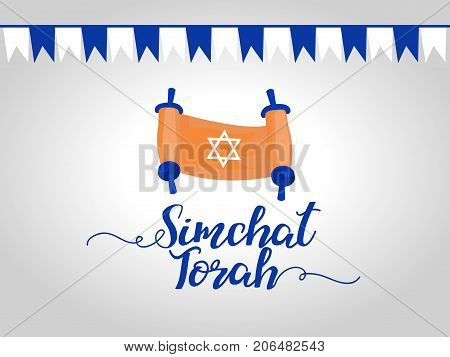 Simchat Torah Jewish Holiday  greeting card. Star of David