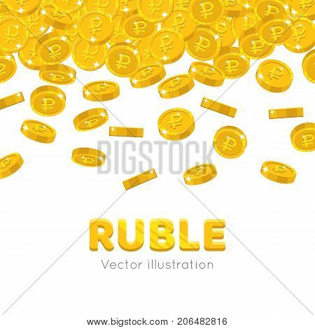 Raingold rubles cartoon frame. A rain of the flying gold of rubles in the form of a frame in a cartoon style. Falling gold pieces in the form of vector illustrations