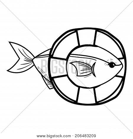 line fish with life buoy object design vector illustration