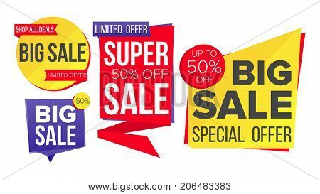 Sale Banner Set Vector. Website Stickers, Color Web Page Design. Up To 50 Percent Off Badges. Isolated Illustration