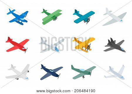 Type of plane icon set. Isometric set of type of plane vector icons for web isolated on white background