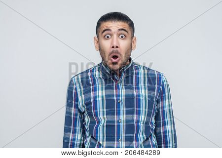Man Opened Mouth And Scream. Have A Shocked Face And Big Eyes.