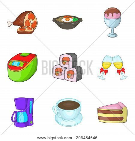 Reserve cafe icons set. Cartoon set of 9 reserve cafe vector icons for web isolated on white background