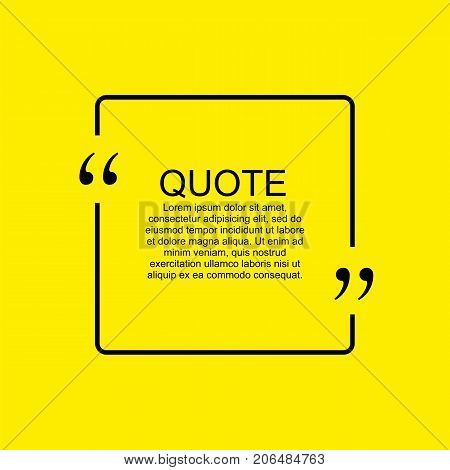 Quote blank template. Quote bubble. Empty template. Square business card template, paper sheet, information, text. Print design. Quote form. Template vector set. Yellow poster, yellow quote box blank