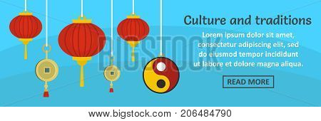 China culture and traditions banner horizontal concept. Flat illustration of china culture and traditions banner horizontal vector concept for web design