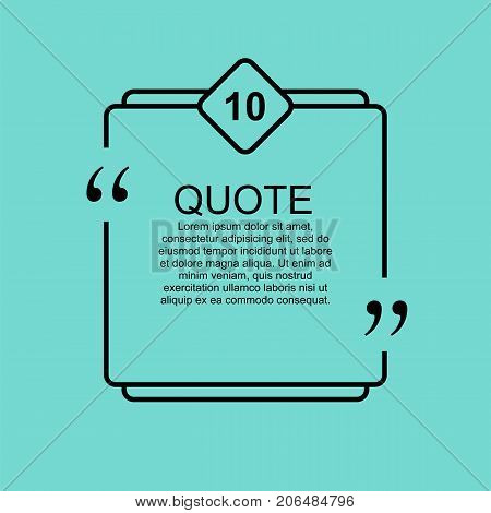 Quote blank template. Commas, note, message and comment. Design element similar to quote. Text, commas, quote and note. Motivation and inspiration. Quote element design. Quote citation. Quote blank template.