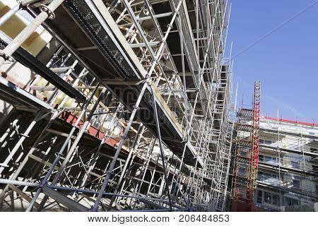 large scaffolding construction inside construction plant industry