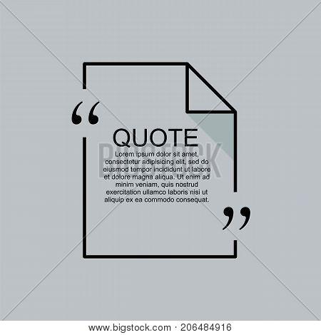 Quote element design. Commas, note, message and comment. Design element similar to quote. Text, commas, quote and note. Motivation and inspiration. Quote citation.