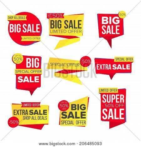 Sale Banner Set Vector. Discount Tag, Special Offer Banner. Special Offer Templates. Best Offer Advertising. Isolated Illustration