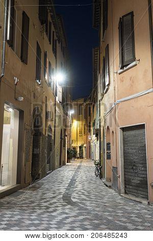Cesena (Emilia Romagna Italy): old street at evening