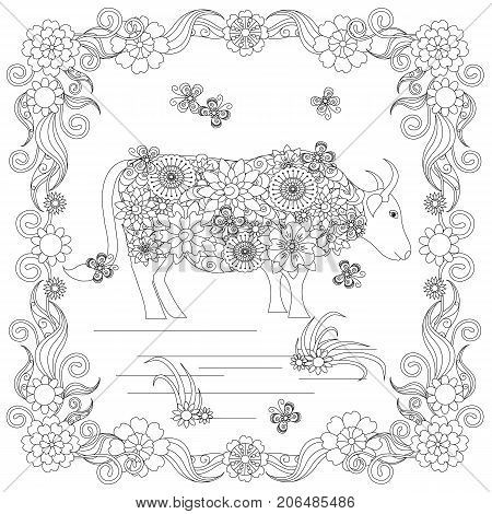 Anti stress abstract cow, butterflies, square flowering frame hand drawn monochrome vector illustration