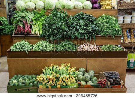 Variety Of Fresh Vegetables Cabbage, Green Leaves Horta, Spinach, Celery, Green Beans, Zucchini, Bee