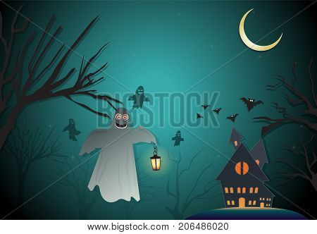 Paper art illustration of Spooky and Haunted house Halloween night background