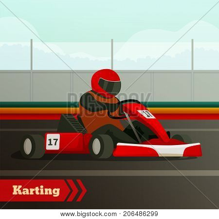 Racing flat composition with images of cart driven by karter in racing helmet on race track vector illustration