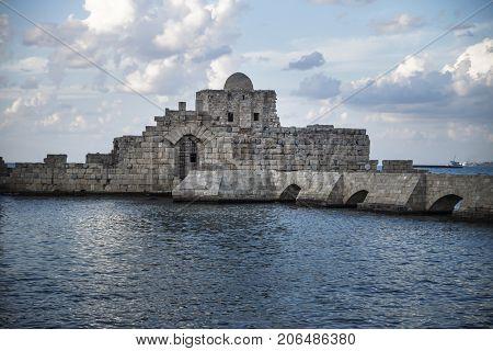 Crusaders Sea Castle detail at the seacoast of Sidon Saida in South Lebanon Middle east