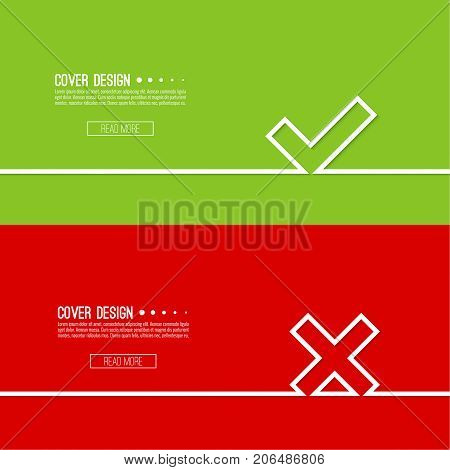 Set vector background with check marks, ticks, x. checkbox. Web and mobile applications.confirmation, form of access denial, refusing. red, green template layout