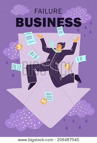 Flat colored and abstract failure business concept with businessman falls with their documents vector illustration