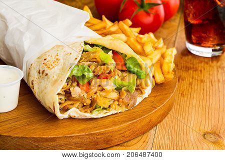 Kebab sandwitch on dark background fast food restaurant