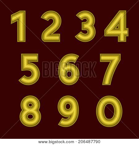 A complete set of gold numbers with a relief surface. The edges of the numbers are made with thin wire. Font is isolated by a dark red background. Letters are made in 3D shapes. Vector illustration.