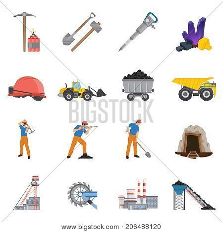 Minerals mining set of flat icons with workers and tools, coal, ore, machinery, factory isolated vector illustration