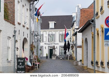 THORN NETHERLANDS - NOVEMBER 6 2016: Small village with only white painted houses