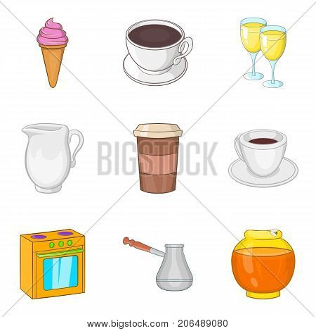 Business lunch icons set. Cartoon set of 9 business lunch vector icons for web isolated on white background