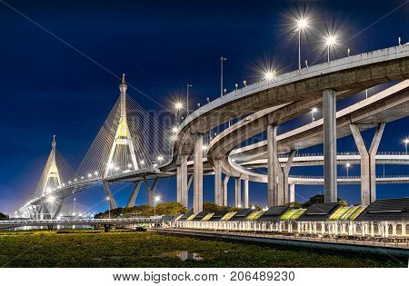 BANGKOK THAILAND - JUNE 05: Industrial Ring road glows in the evening in on June 05 2017 in Bangkok.